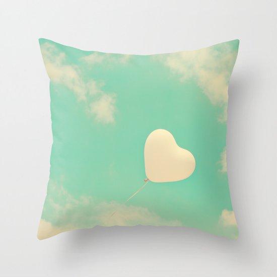 Sweet Love, Retro Heart Balloon in Green-Turquoise sky  Throw Pillow