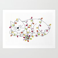 Christmas Nap Art Print