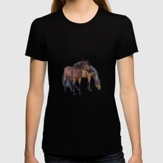 Horses in a misty dawn Womens Fitted Tee Black SMALL