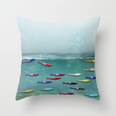 colorfull sardine in the water Throw Pillow