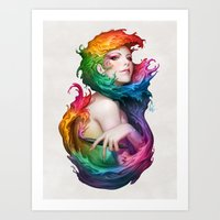 rainbow Art Prints featuring Angel of Colors by Artgerm™