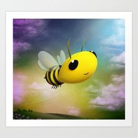 Bee Flying On Colour Sky Art Print