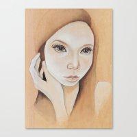 Self Portrait On Wood Canvas Print
