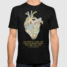 A Traveler's Heart + Quote Mens Fitted Tee Tri-Black SMALL