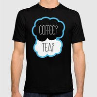 Coffee? Tea? Mens Fitted Tee Black SMALL