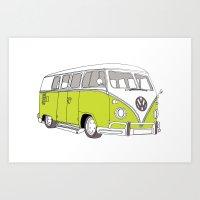 Green Volkswagen Camper Van (Landscape) (Kombi // VW) Art Print