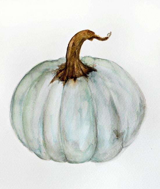 Blue Gray Cinderella Pumpkin Watercolor Art Print By