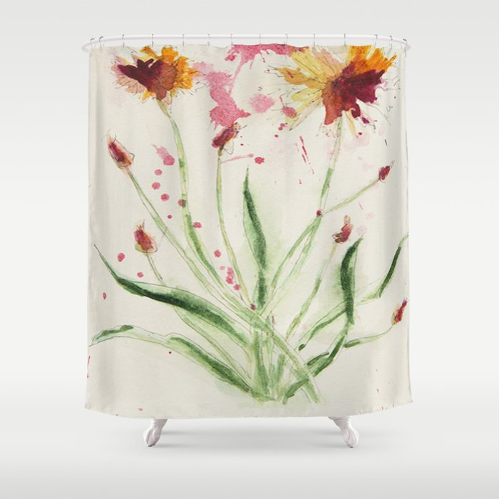 floral painting shower curtain by red dust society6