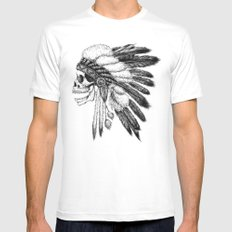 Native American SMALL White Mens Fitted Tee