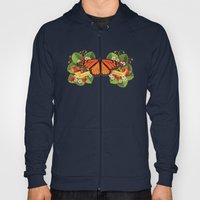 Monarch Butterfly with Strawberries Illustration Hoody