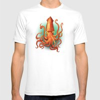Giant Squid Mens Fitted Tee White SMALL