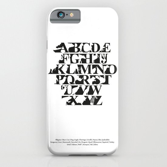 Alphabet Zoo (black and white) iPhone & iPod Case