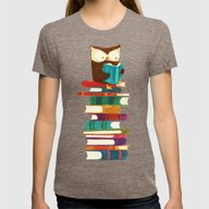 Owl Reading Rainbow Womens Fitted Tee Tri-Coffee SMALL