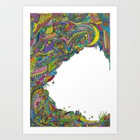 Night sky to look from the cave Art Print