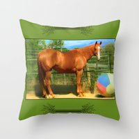 A Horse and Her Ball Throw Pillow