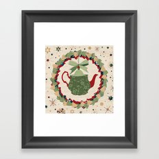 Christmas Teapot inside the Wreath  Framed Art Print