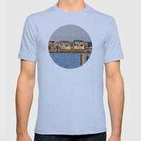 Docked Boats  Mens Fitted Tee Athletic Blue SMALL