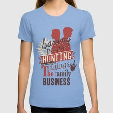 The Family Business Womens Fitted Tee Tri-Blue SMALL