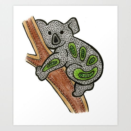 Aboriginal Koala Art Print By Sammyspac Society6