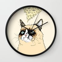Grumpy Pizza Love Wall Clock