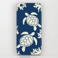 Sea Turtles on Indigo Linen iPhone & iPod Skin