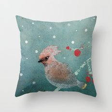Tweet in the Snow Throw Pillow