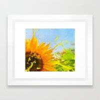 Splashing Sunflower Framed Art Print