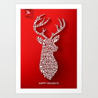 Happy Holidays - Deer Art Print