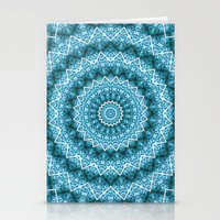 Light Blue Kaleidoscope / Mandala Stationery Cards