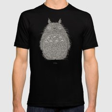 Cream Totoro Mens Fitted Tee SMALL Black