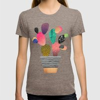 Happy Cactus Womens Fitted Tee Tri-Coffee SMALL