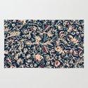 Navy Garden - floral doodle pattern in cream, dark red & blue Rug