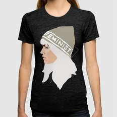 Feminist (Silver) Womens Fitted Tee Tri-Black SMALL