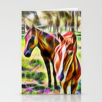 Horses In A Field Stationery Cards