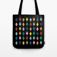Arrows Up And Down Black Tote Bag