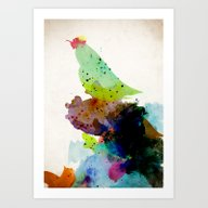 Bird Standing On A Tree Art Print