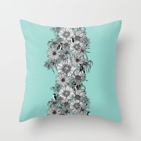 Penguins & Flowers Throw Pillow
