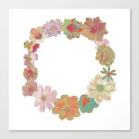 Halftone Flower Ring Canvas Print
