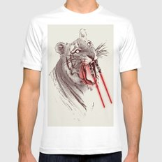 Light Saber Tooth Tiger SMALL Mens Fitted Tee White