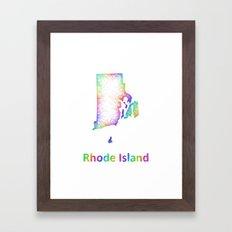 Rainbow Rhode Island map Framed Art Print