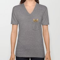 Pocket Tabby Cat Unisex V-Neck