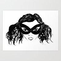 Masked Girl B&W Art Print