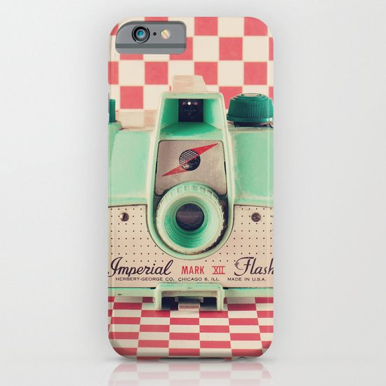 Mint Retro Camera on Red Chequered Background  iPhone & iPod Case