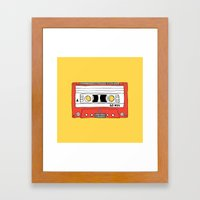 Cassette Tape // yellow and red // large Framed Art Print