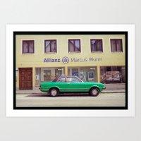 Turquoise Car Art Print