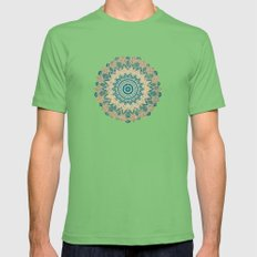 GOLD BOHOCHIC MANDALA IN GREENS Mens Fitted Tee Grass SMALL