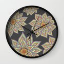 Floral Rhythm In The Dark Wall Clock