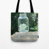 Queen Anne's Lace/Jar w/ bokeh Tote Bag