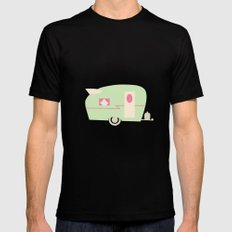 Retro Trailer  Mens Fitted Tee SMALL Black