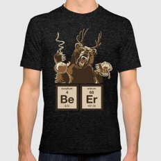 Funny chemistry bear discovered beer Mens Fitted Tee Tri-Black SMALL